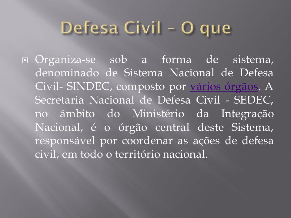  Organiza-se sob a forma de sistema, denominado de Sistema Nacional de Defesa Civil- SINDEC, composto por vários órgãos. A Secretaria Nacional de Def
