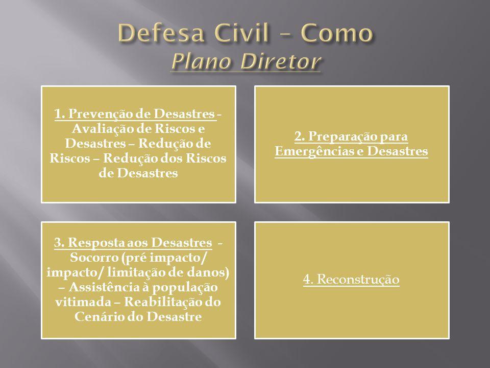 1. Prevenção de Desastres - Avaliação de Riscos e Desastres – Redução de Riscos – Redução dos Riscos de Desastres 2. Preparação para Emergências e Des