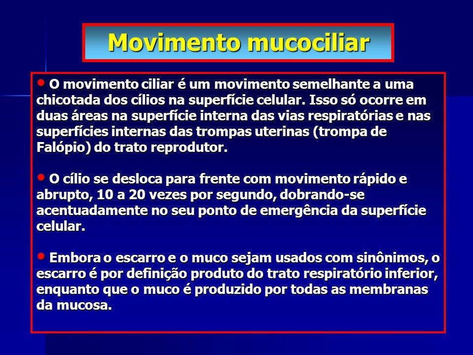 Movimento mucociliar O movimento ciliar é um movimento semelhante a uma chicotada dos cílios na superfície celular. Isso só ocorre em duas áreas na su