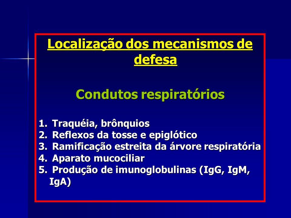 Localização dos mecanismos de defesa Condutos respiratórios 1. Traquéia, brônquios 2. Reflexos da tosse e epiglótico 3. Ramificação estreita da árvore