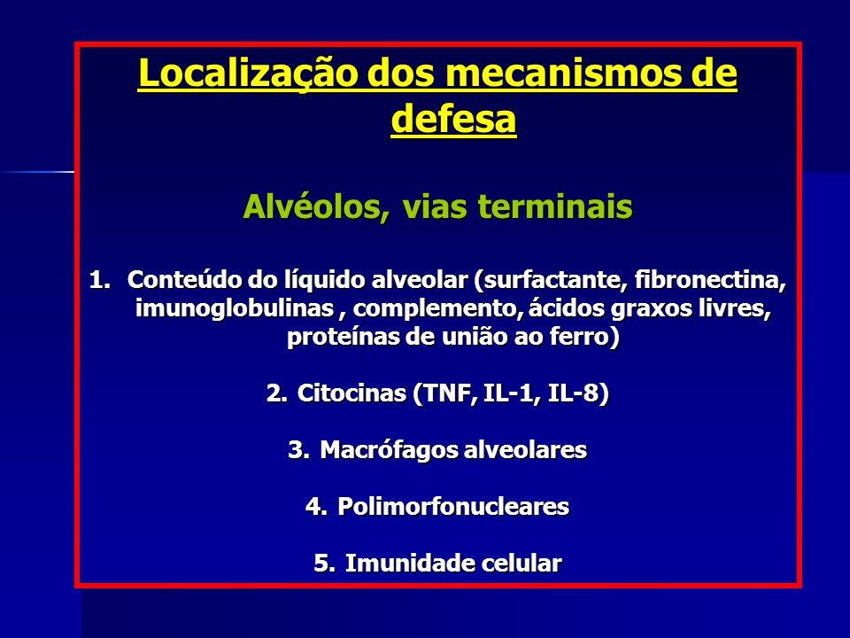 Localização dos mecanismos de defesa Alvéolos, vias terminais 1. Conteúdo do líquido alveolar (surfactante, fibronectina, imunoglobulinas, complemento