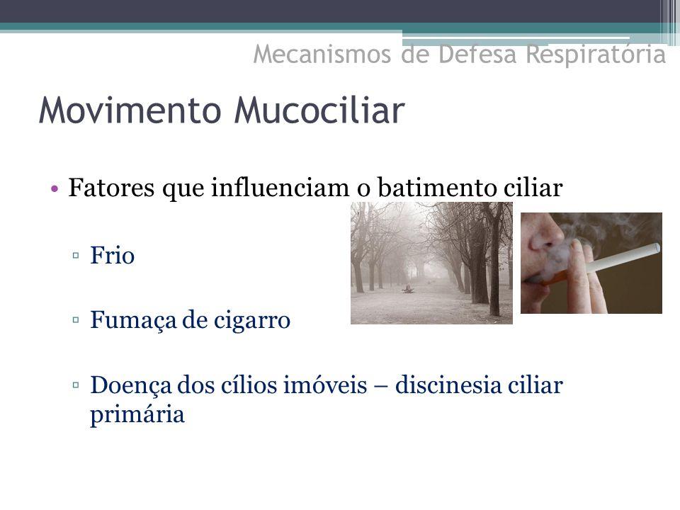 Fatores que influenciam o batimento ciliar ▫Frio ▫Fumaça de cigarro ▫Doença dos cílios imóveis – discinesia ciliar primária Movimento Mucociliar Mecan