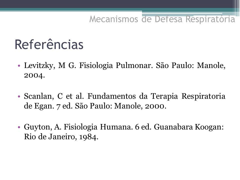 Referências Levitzky, M G. Fisiologia Pulmonar. São Paulo: Manole, 2004. Scanlan, C et al. Fundamentos da Terapia Respiratoria de Egan. 7 ed. São Paul