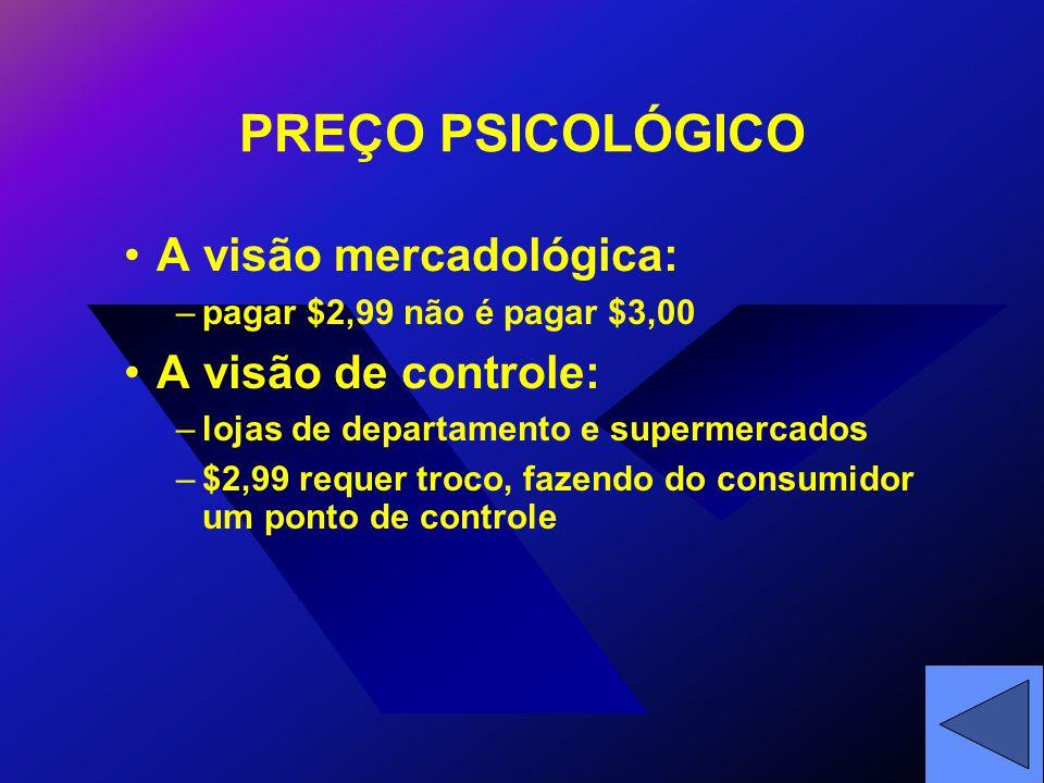 PREÇO PSICOLÓGICO A visão mercadológica: –pagar $2,99 não é pagar $3,00 A visão de controle: –lojas de departamento e supermercados –$2,99 requer troco, fazendo do consumidor um ponto de controle
