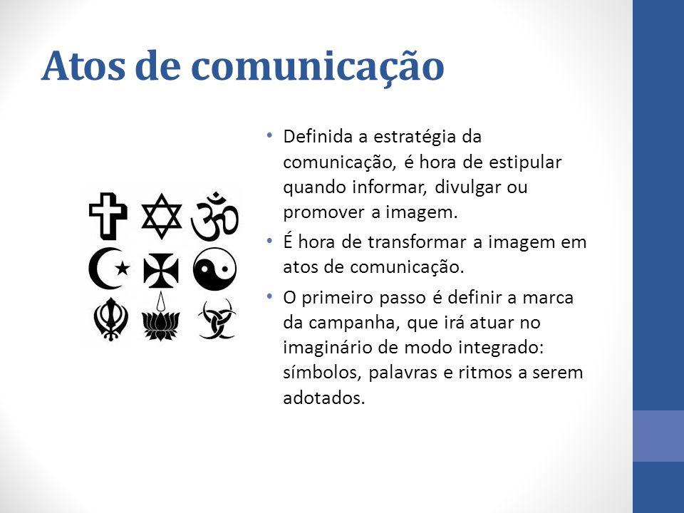 Atos de comunicação Definida a estratégia da comunicação, é hora de estipular quando informar, divulgar ou promover a imagem. É hora de transformar a