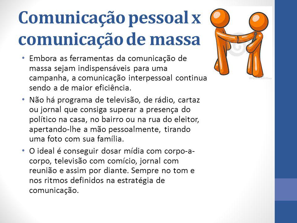 Comunicação pessoal x comunicação de massa Embora as ferramentas da comunicação de massa sejam indispensáveis para uma campanha, a comunicação interpe