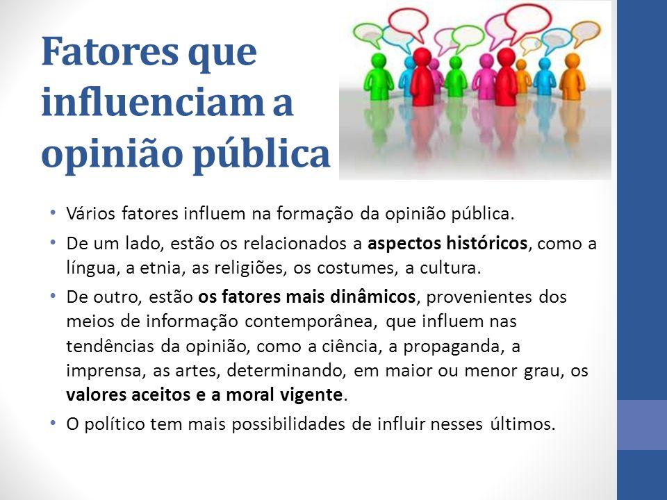 Fatores que influenciam a opinião pública Vários fatores influem na formação da opinião pública. De um lado, estão os relacionados a aspectos históric