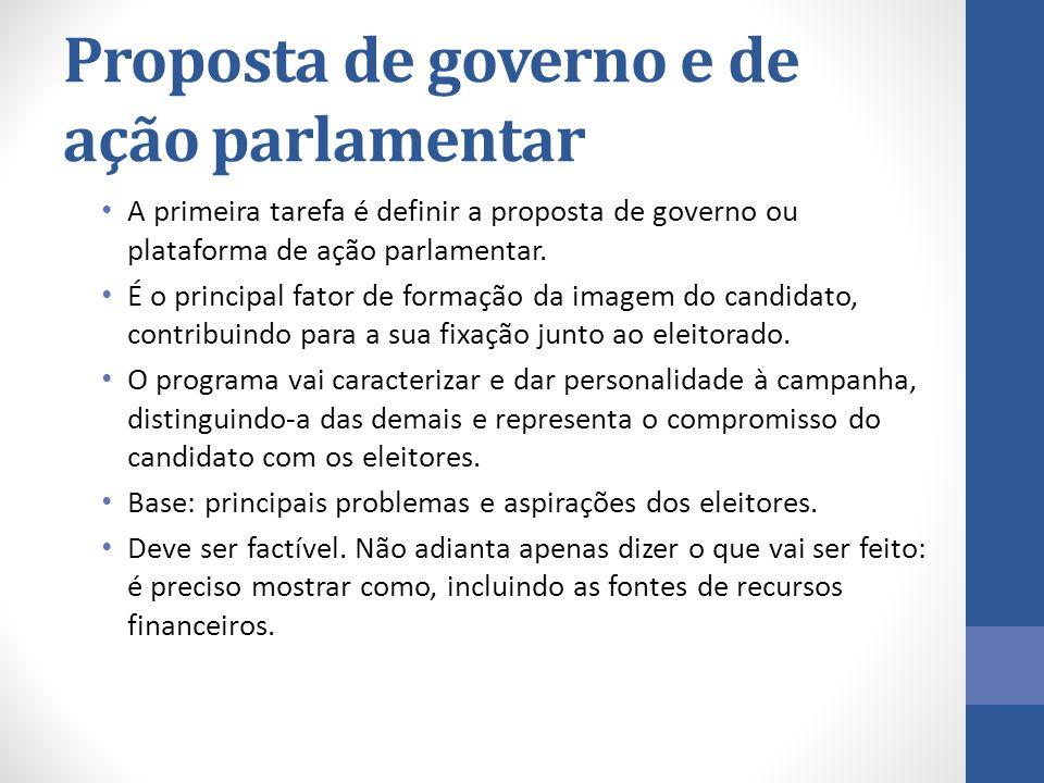 Proposta de governo e de ação parlamentar A primeira tarefa é definir a proposta de governo ou plataforma de ação parlamentar. É o principal fator de