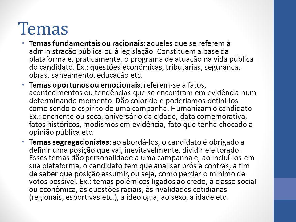 Temas Temas fundamentais ou racionais: aqueles que se referem à administração pública ou à legislação. Constituem a base da plataforma e, praticamente