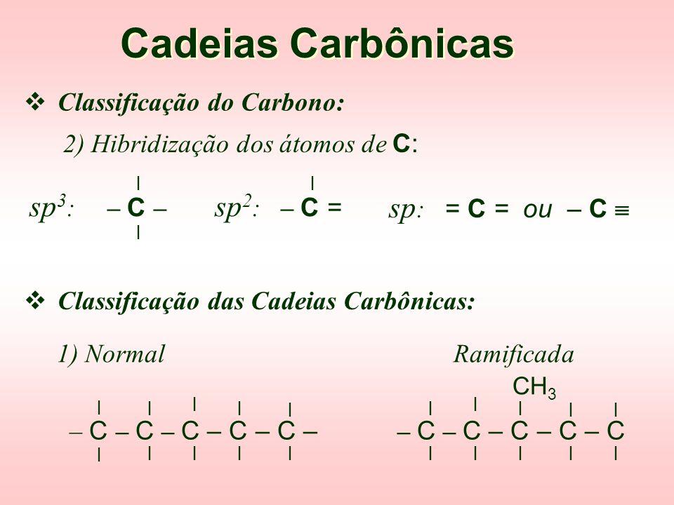  Classificação do Carbono: Cadeias Carbônicas l l Primário: – C – C l l Secundário: C – C – C l l Terciário: C – C – C C C l l Quaternário: C – C – C