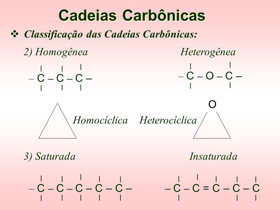  Classificação do Carbono: Cadeias Carbônicas l l sp 3 : – C – l sp 2 : – C = sp : = C = ou – C   Classificação das Cadeias Carbônicas: 1) Normal R