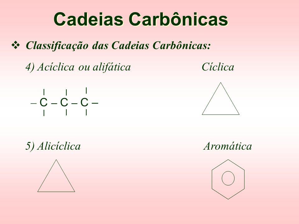 Cadeias Carbônicas 2) Homogênea Heterogênea l l – C – C – C – l l l l l – C – O – C – l l l  Classificação das Cadeias Carbônicas: 3) Saturada Insatu