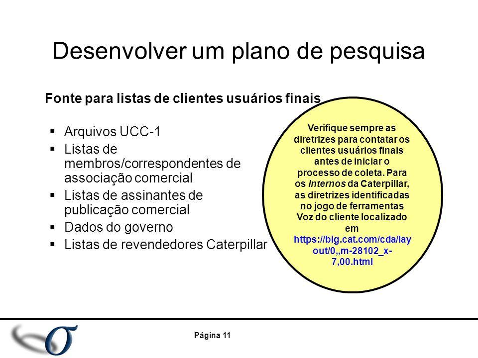 Página 11 Desenvolver um plano de pesquisa  Arquivos UCC-1  Listas de membros/correspondentes de associação comercial  Listas de assinantes de publ