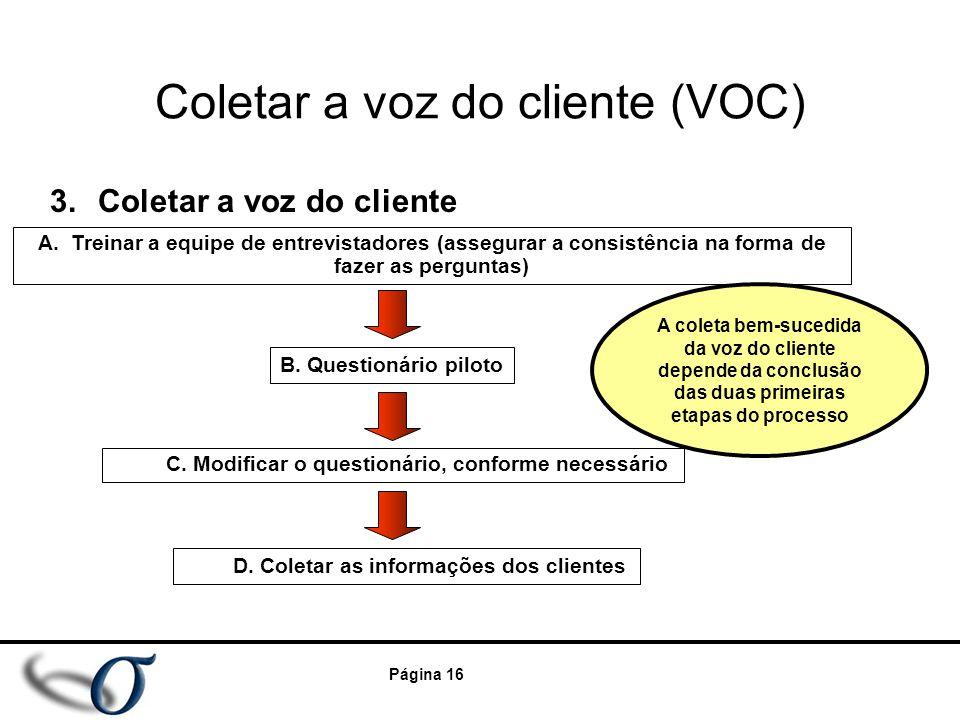 Página 16 Coletar a voz do cliente (VOC) 3.Coletar a voz do cliente C. Modificar o questionário, conforme necessário B. Questionário piloto D. Coletar