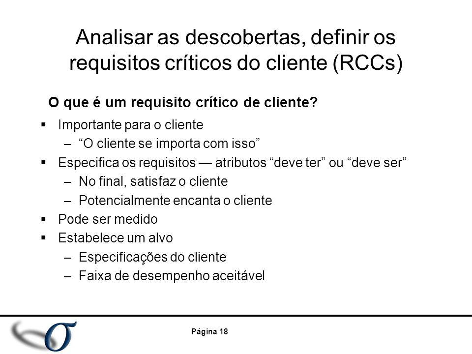 "Página 18 Analisar as descobertas, definir os requisitos críticos do cliente (RCCs)  Importante para o cliente –""O cliente se importa com isso""  Esp"