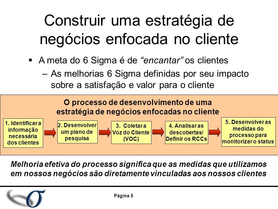 """Página 5 Construir uma estratégia de negócios enfocada no cliente  A meta do 6 Sigma é de """"encantar"""" os clientes –As melhorias 6 Sigma definidas por"""