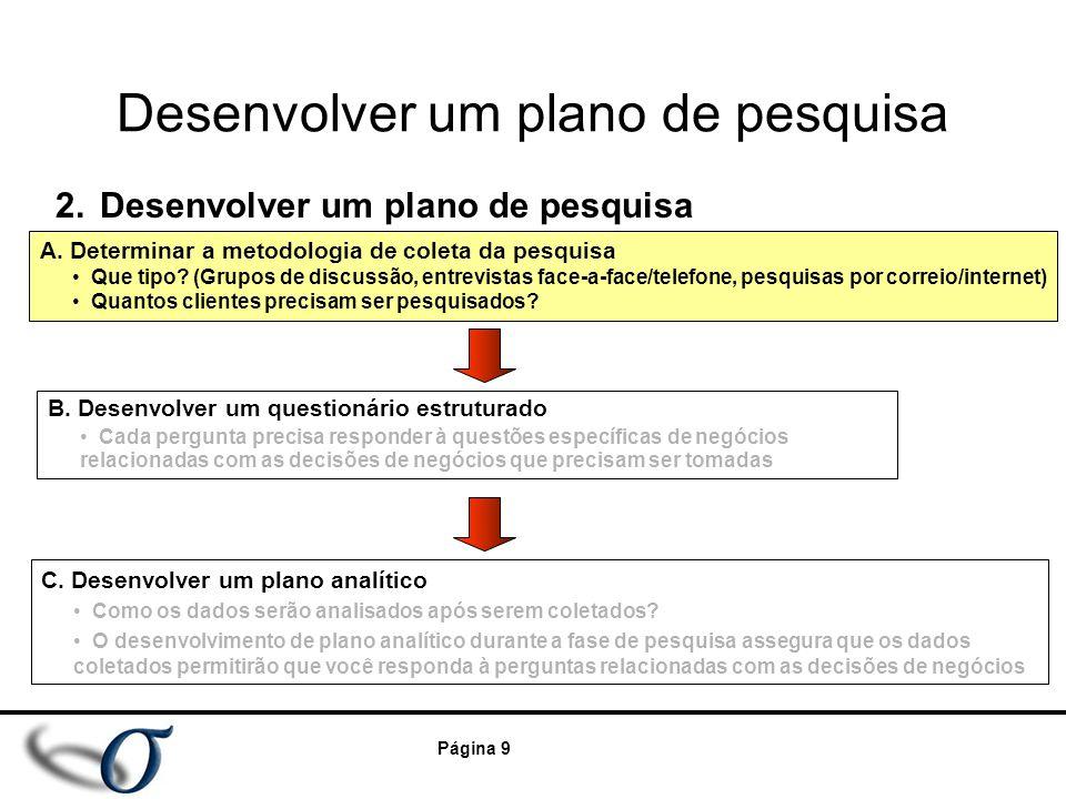 Página 9 Desenvolver um plano de pesquisa 2.Desenvolver um plano de pesquisa B. Desenvolver um questionário estruturado Cada pergunta precisa responde