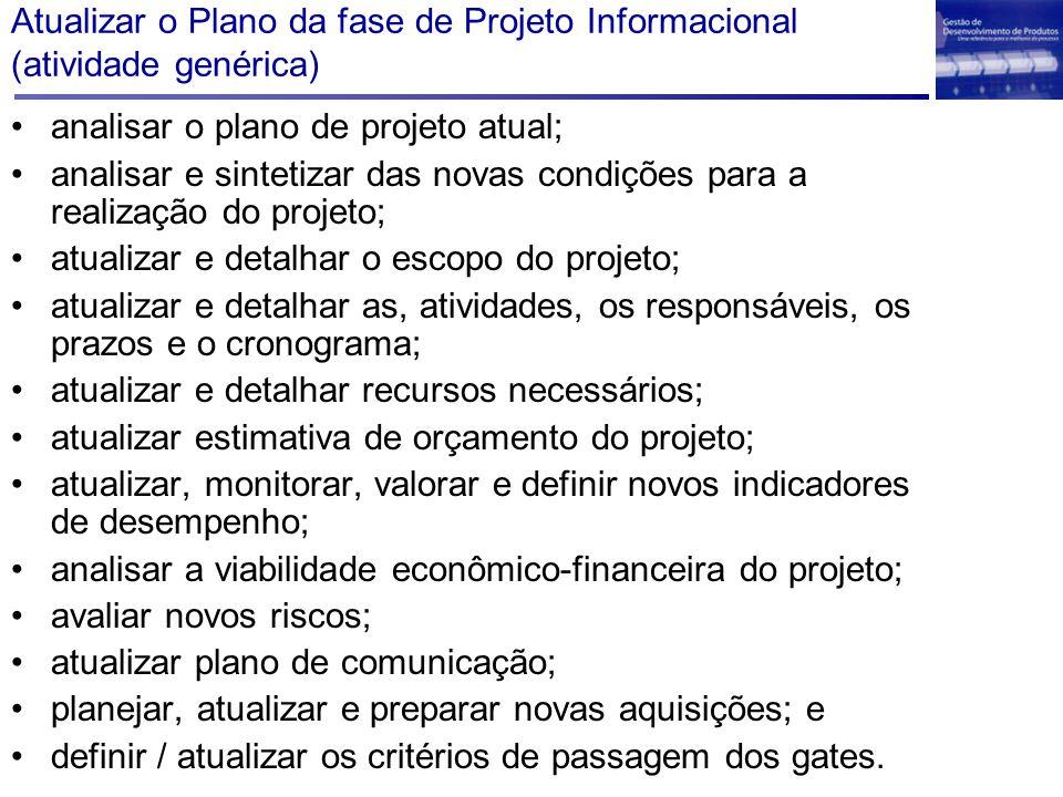 Atualizar o Plano da fase de Projeto Informacional (atividade genérica) analisar o plano de projeto atual; analisar e sintetizar das novas condições p
