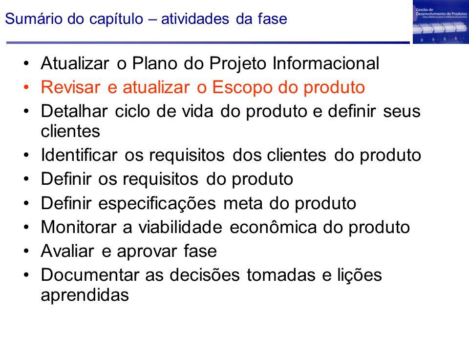 Sumário do capítulo – atividades da fase Atualizar o Plano do Projeto Informacional Revisar e atualizar o Escopo do produto Detalhar ciclo de vida do