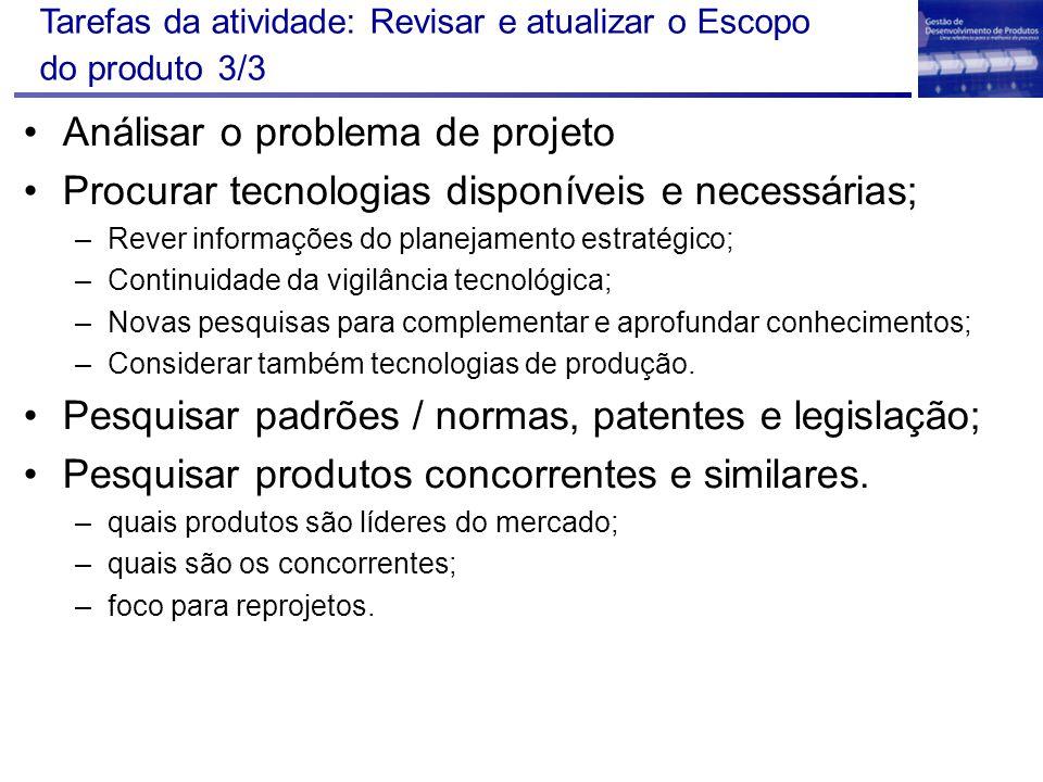 Tarefas da atividade: Revisar e atualizar o Escopo do produto 3/3 Análisar o problema de projeto Procurar tecnologias disponíveis e necessárias; –Reve
