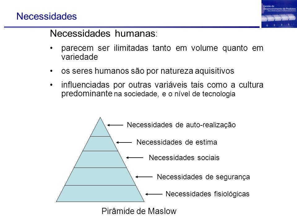 Necessidades Necessidades humanas : parecem ser ilimitadas tanto em volume quanto em variedade os seres humanos são por natureza aquisitivos influenci