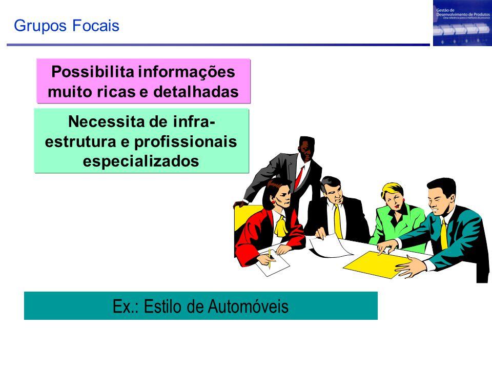Grupos Focais Possibilita informações muito ricas e detalhadas Ex.: Estilo de Automóveis Necessita de infra- estrutura e profissionais especializados