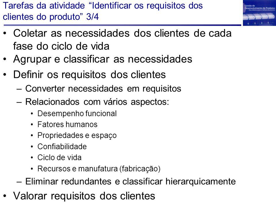 Coletar as necessidades dos clientes de cada fase do ciclo de vida Agrupar e classificar as necessidades Definir os requisitos dos clientes –Converter