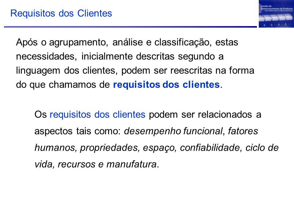 Requisitos dos Clientes Após o agrupamento, análise e classificação, estas necessidades, inicialmente descritas segundo a linguagem dos clientes, pode
