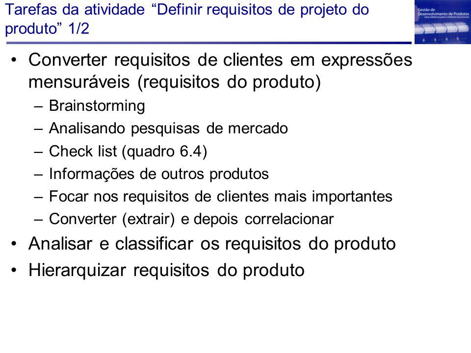 """Tarefas da atividade """"Definir requisitos de projeto do produto"""" 1/2 Converter requisitos de clientes em expressões mensuráveis (requisitos do produto)"""