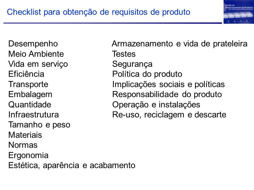 Checklist para obtenção de requisitos de produto Desempenho Armazenamento e vida de prateleira Meio Ambiente Testes Vida em serviço Segurança Eficiênc