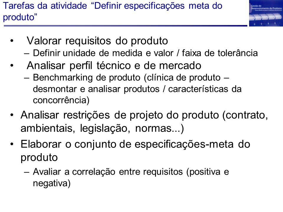 """Tarefas da atividade """"Definir especificações meta do produto"""" Valorar requisitos do produto –Definir unidade de medida e valor / faixa de tolerância A"""