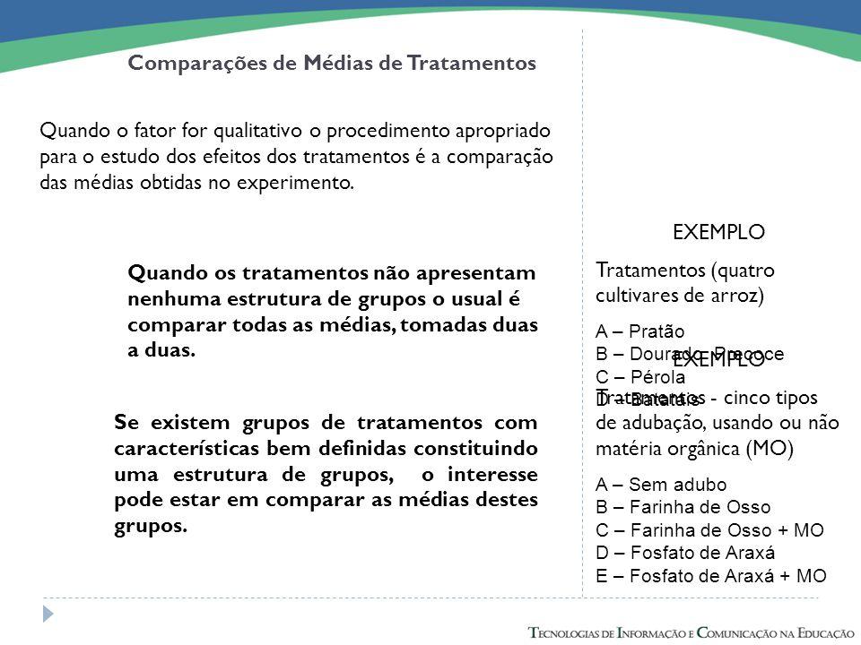 Comparações de Médias de Tratamentos Quando o fator for qualitativo o procedimento apropriado para o estudo dos efeitos dos tratamentos é a comparação
