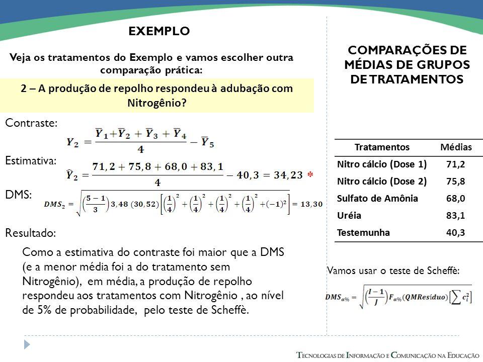 Tratamentos Nitro cálcio (Dose 1) Nitro cálcio (Dose 2) Sulfato de Amônia Uréia Testemunha COMPARAÇÕES DE MÉDIAS DE GRUPOS DE TRATAMENTOS EXEMPLO 2 –