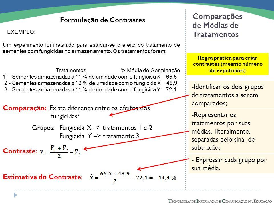 Comparações de Médias de Tratamentos Formulação de Contrastes Regra prática para criar contrastes (mesmo número de repetições) -Identificar os dois gr