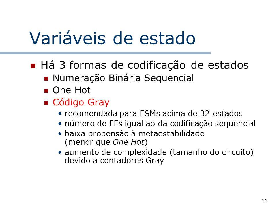 11 Variáveis de estado Há 3 formas de codificação de estados Numeração Binária Sequencial One Hot Código Gray recomendada para FSMs acima de 32 estados número de FFs igual ao da codificação sequencial baixa propensão à metaestabilidade (menor que One Hot) aumento de complexidade (tamanho do circuito) devido a contadores Gray