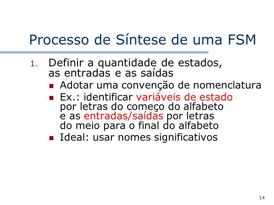 14 Processo de Síntese de uma FSM 1.