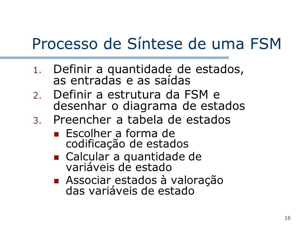 16 Processo de Síntese de uma FSM 1.Definir a quantidade de estados, as entradas e as saídas 2.