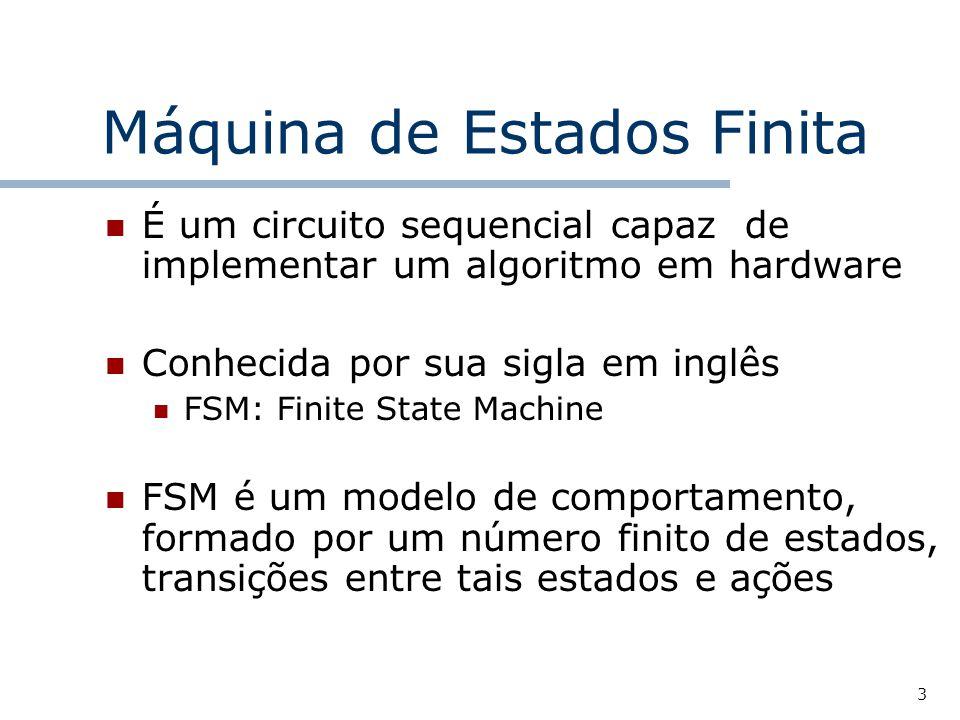 3 Máquina de Estados Finita É um circuito sequencial capaz de implementar um algoritmo em hardware Conhecida por sua sigla em inglês FSM: Finite State Machine FSM é um modelo de comportamento, formado por um número finito de estados, transições entre tais estados e ações