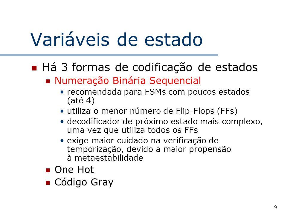 9 Variáveis de estado Há 3 formas de codificação de estados Numeração Binária Sequencial recomendada para FSMs com poucos estados (até 4) utiliza o menor número de Flip-Flops (FFs) decodificador de próximo estado mais complexo, uma vez que utiliza todos os FFs exige maior cuidado na verificação de temporização, devido a maior propensão à metaestabilidade One Hot Código Gray
