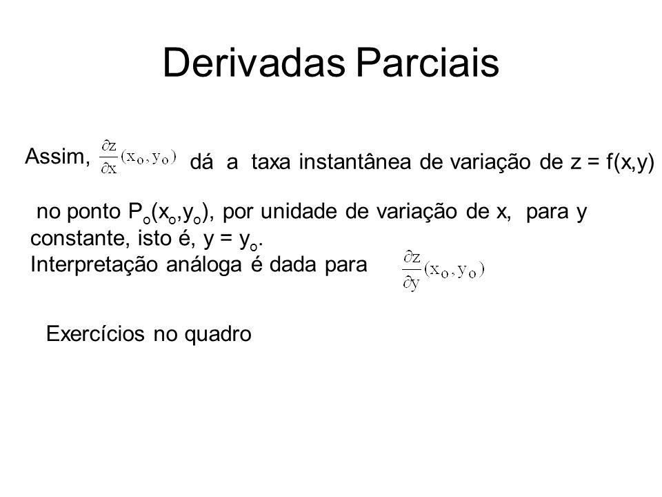 Derivadas Parciais Assim, no ponto P o (x o,y o ), por unidade de variação de x, para y constante, isto é, y = y o.