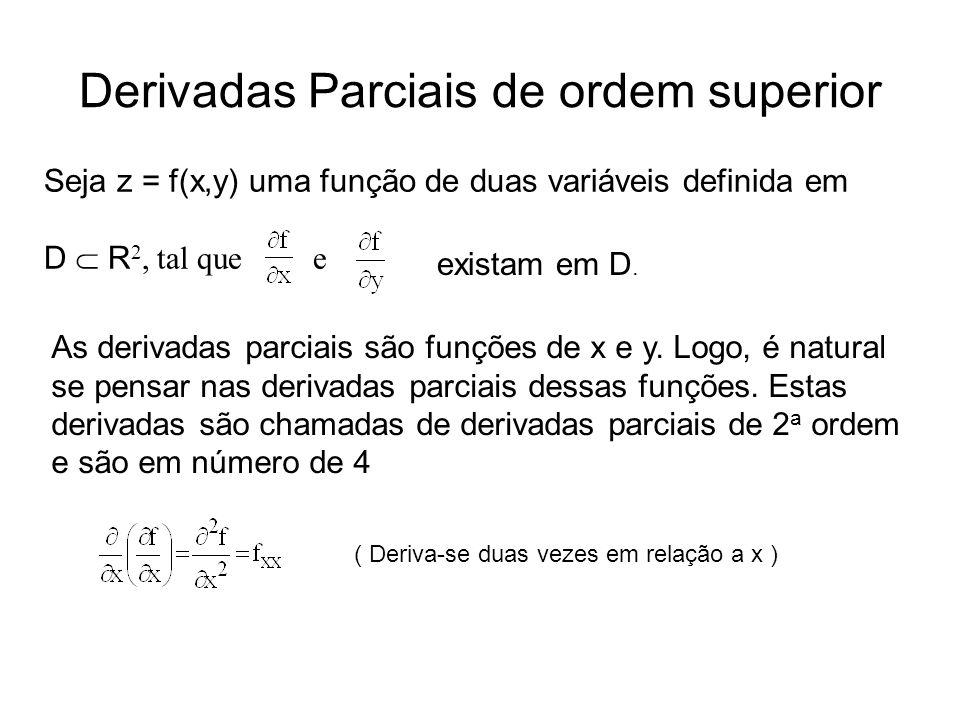 Derivadas Parciais de ordem superior Seja z = f(x,y) uma função de duas variáveis definida em D  R 2, tal que e e As derivadas parciais são funções de x e y.