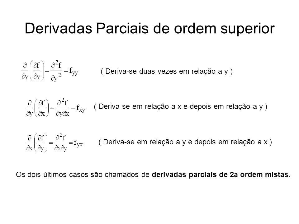 Derivadas Parciais de ordem superior ( Deriva-se duas vezes em relação a y ) ( Deriva-se em relação a x e depois em relação a y ) ( Deriva-se em relação a y e depois em relação a x ) Os dois últimos casos são chamados de derivadas parciais de 2a ordem mistas.