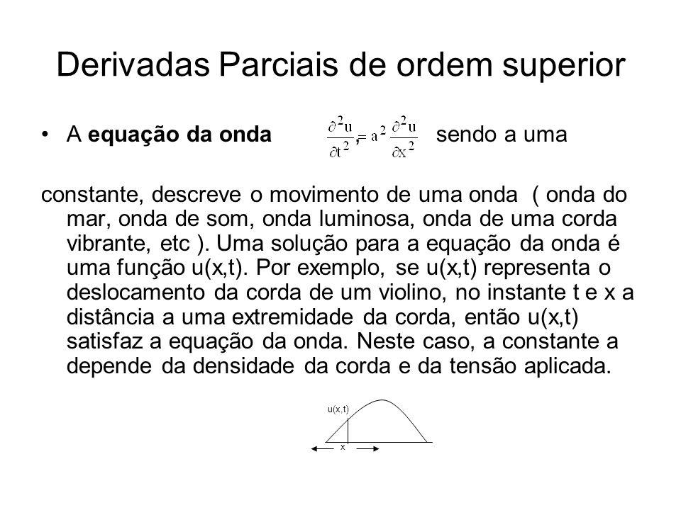 Derivadas Parciais de ordem superior A equação da onda, sendo a uma constante, descreve o movimento de uma onda ( onda do mar, onda de som, onda luminosa, onda de uma corda vibrante, etc ).