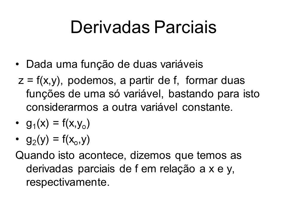 Derivadas Parciais Dada uma função de duas variáveis z = f(x,y), podemos, a partir de f, formar duas funções de uma só variável, bastando para isto considerarmos a outra variável constante.