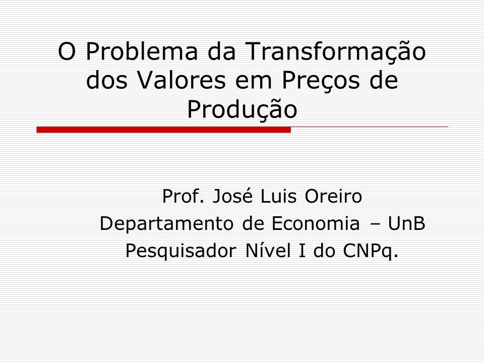 O Problema da Transformação dos Valores em Preços de Produção Prof.