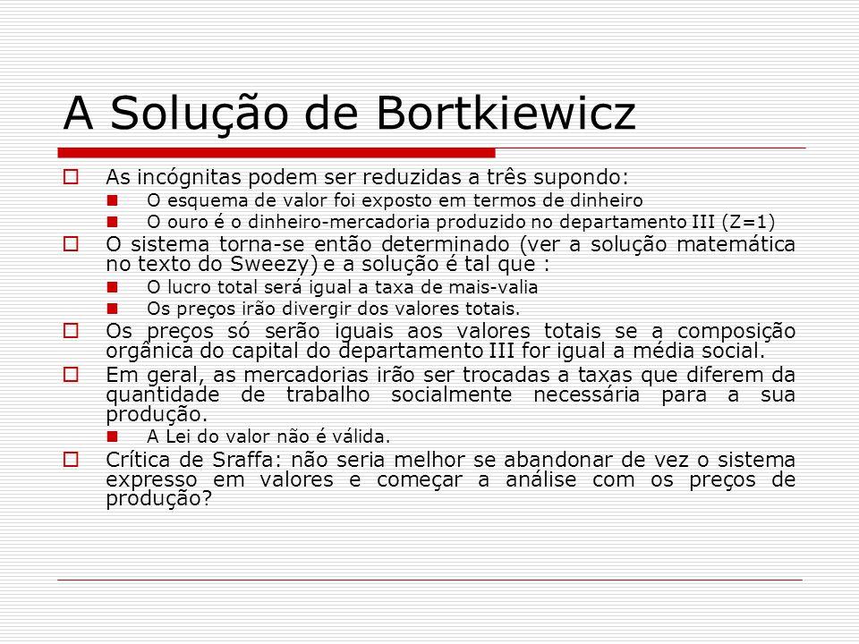 A Solução de Bortkiewicz  As incógnitas podem ser reduzidas a três supondo: O esquema de valor foi exposto em termos de dinheiro O ouro é o dinheiro-mercadoria produzido no departamento III (Z=1)  O sistema torna-se então determinado (ver a solução matemática no texto do Sweezy) e a solução é tal que : O lucro total será igual a taxa de mais-valia Os preços irão divergir dos valores totais.