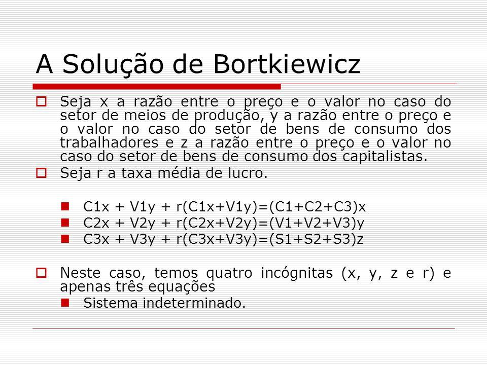 A Solução de Bortkiewicz  Seja x a razão entre o preço e o valor no caso do setor de meios de produção, y a razão entre o preço e o valor no caso do setor de bens de consumo dos trabalhadores e z a razão entre o preço e o valor no caso do setor de bens de consumo dos capitalistas.