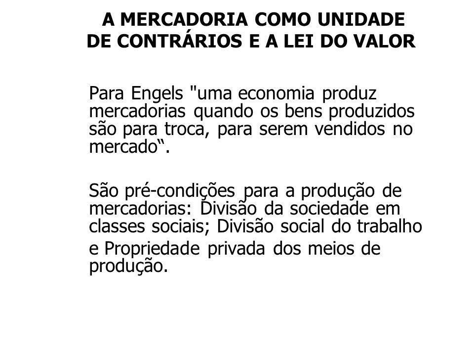 A MERCADORIA COMO UNIDADE DE CONTRÁRIOS E A LEI DO VALOR Para Engels