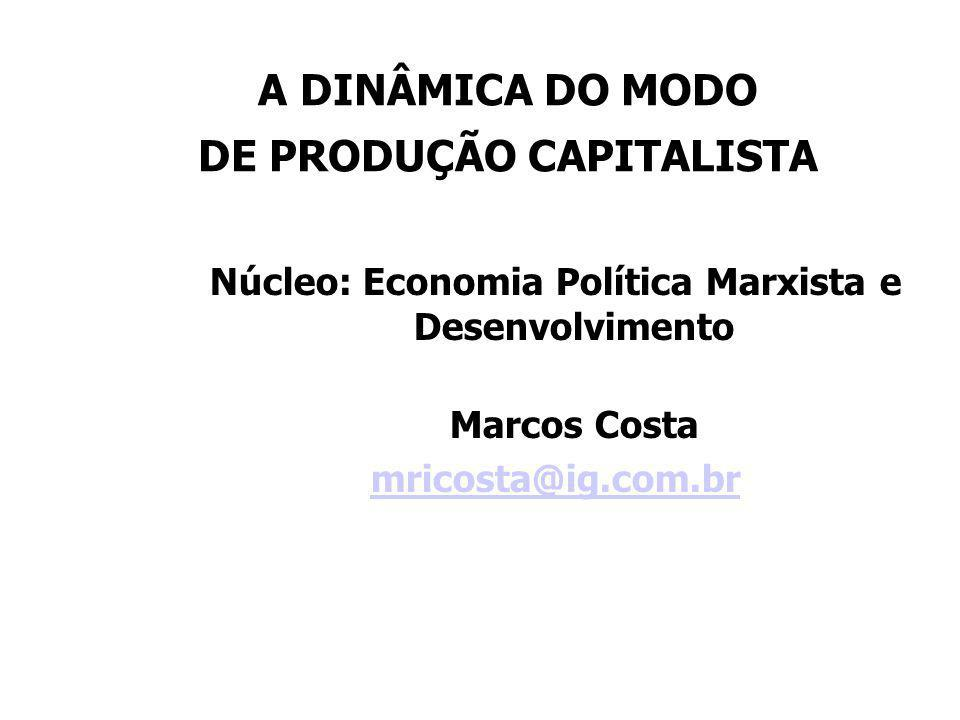 TOPÍCOS DE CONTÚDO DAS 04 AULAS 1- O Método da Economia Política em Marx; A Categoria Mercadoria; A Lei do Valor; O Duplo Caráter do Trabalho Materializado na Mercadoria; O Fetiche da Mercadoria; 2- A Mercadoria Dinheiro; As Fórmulas M-M, M-D-M, D-M-D' e D-D'; A Mercadoria Força de Trabalho; Taxa de Mais- Valia; Mais-Valia Absoluta; Mais-Valia Relativa; 3- A Fórmula Geral do Capital; Composição Orgânica do Capital; Taxa de Mais-Valia e Taxa de Lucro; Capitalismo: Contradição em Processo; 4- A Lei Geral da Acumulação Capitalista; A Lei da Tendência de Queda da Taxa de Lucro; As Crises Cíclicas de Superprodução; As Crises Financeiras no Neoliberalismo.
