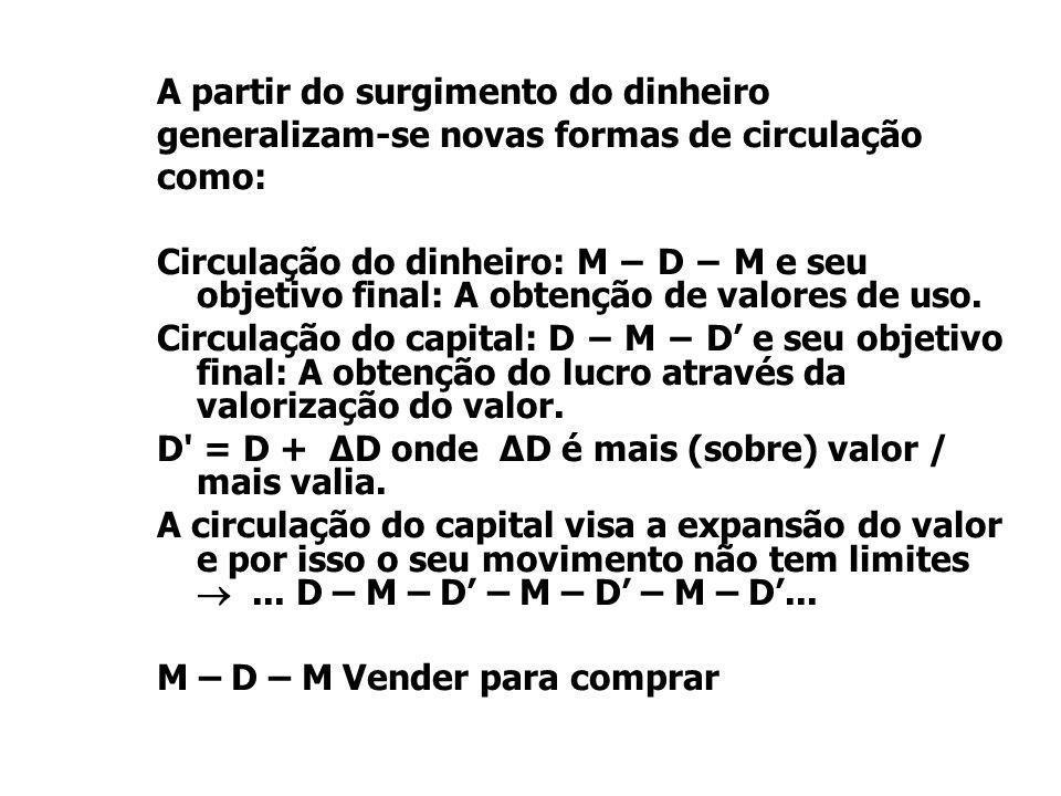 A partir do surgimento do dinheiro generalizam-se novas formas de circulação como: Circulação do dinheiro: M − D − M e seu objetivo final: A obtenção de valores de uso.
